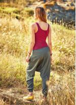 Gipe Bel Detaylı Cepli Haki Kadın Şalvar Pantolon