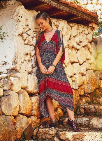 Otantik Desenli Gri Uzun Etnik Bohem Elbise