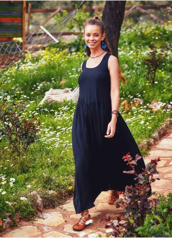 Otantik Bohem Tarz U Yaka Siyah Uzun Elbise