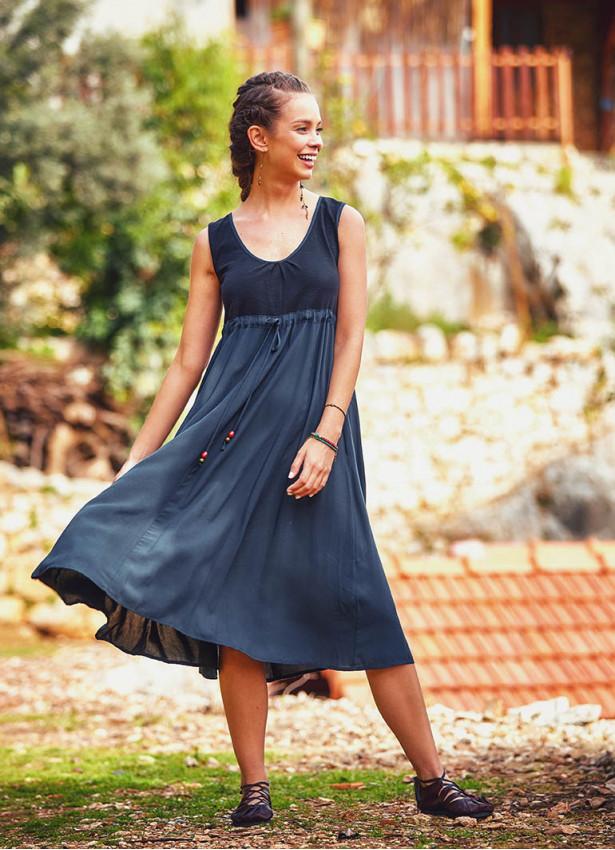 Otantik Boncuk Süsleme Günlük Uzun Antrasit Elbise
