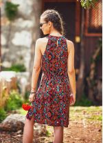 Etnik Desenli Pileli Yırtmaçlı Kahverengi Elbise