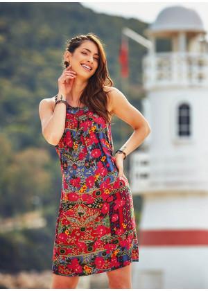 Çiçek Desenli Pile Detaylı Bohem Tarz Elbise