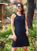 Etnik Pile Detaylı Yırtmaçlı Siyah Bohem Elbise