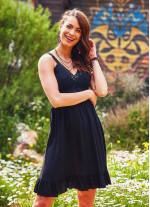 Bohem Tarz Dantel Yaka Askılı Siyah Elbise
