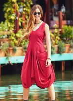 Bohem Tarz V Yaka Balon Etekli Kırmızı Elbise