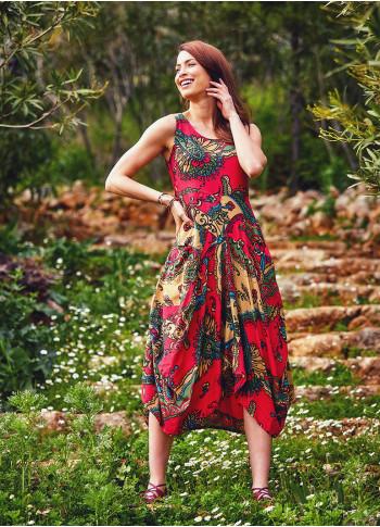 Etnik Desenli Asimetrik Kesim Kırmızı Elbise