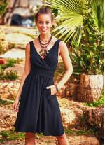 Siyah Bohem Günlük Kısa Askılı Otantik Elbise