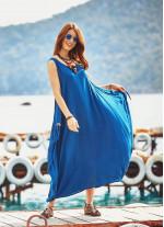 Bohem Tarz Kayık Yaka Salaş Uzun indigo Elbise