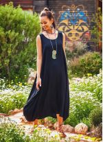 Kayık Yaka Düğme Detaylı Cepli Günlük Siyah Elbise