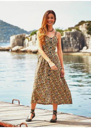 Bohem Tarz Çiçek Desenli Uzun Etnik Haki Elbise