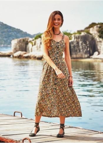 Otantik Desenli Haki Yazlık Uzun Çiçekli Etnik Elbise