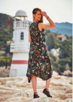 Etnik Desenli Kayık Yaka Kolsuz Uzun Elbise