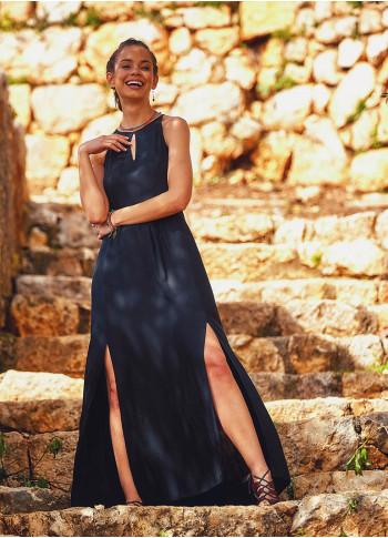 Otantik Siyan Yırtmaçlı Uzun Etnik Boydan Elbise