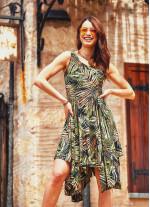 Palmiye Desenli Asimetrik Etekli Haki Elbise