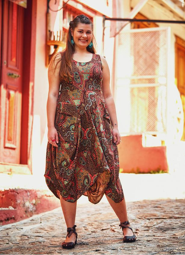 Etnik Desenli Bağcıklı U Yaka Büyük Beden Elbise
