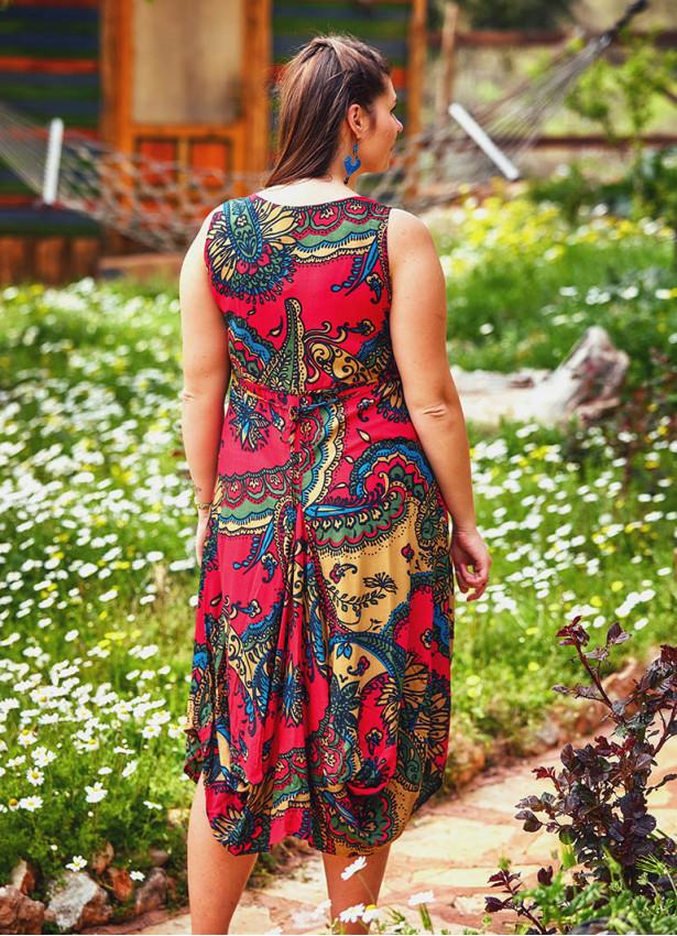 Etnik Desenli U Yaka Büyük Beden Kırmızı Elbise