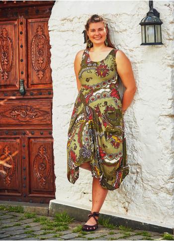 Beli Bağlamalı V Yaka Büyük Beden Elbise