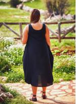 Kayık Yaka Düğmeli Büyük Beden Siyah Elbise