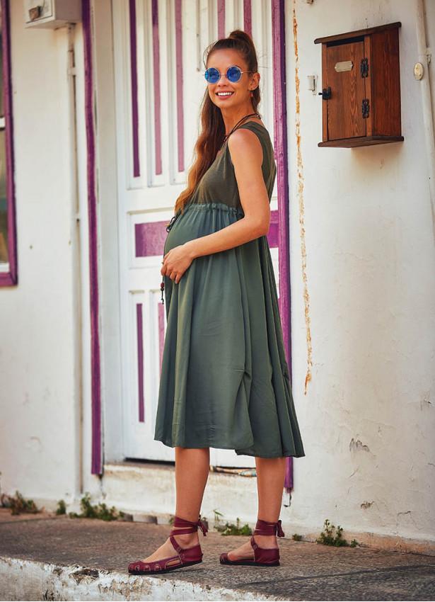 Bohem Tarz Boncuk Süslemeli Haki Hamile Elbise