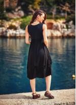Bohem U Yaka Boncuk Süslemeli Siyah Hamile Elbise