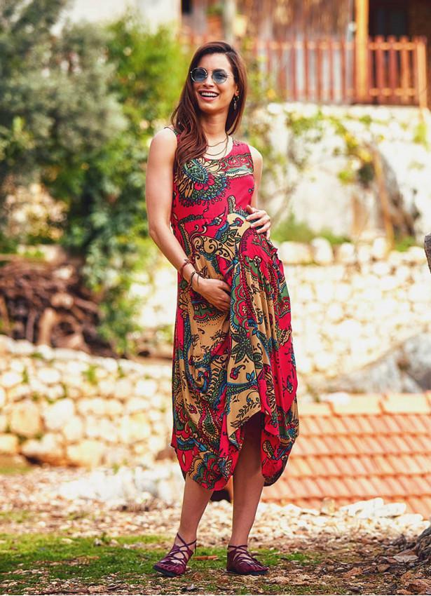 Otantik Desenli Kayık Yaka Kırmızı Hamile Elbise
