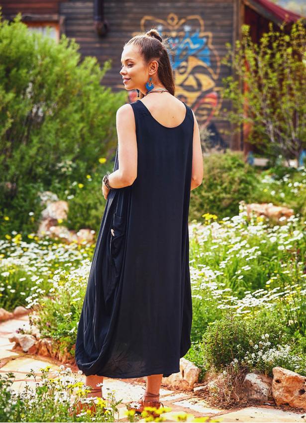 Kayık Yaka Düğmeli Siyah Günlük Hamile Elbise