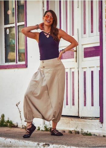 Doğal Düğmeli Cepli Kadın Krem Şalvar Pantolon