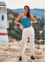 Bohem Beli Lastikli Salaş Şalvar Beyaz Pantolon