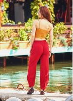 Bohem Beli Lastikli Salaş Kırmızı Şalvar Pantolon