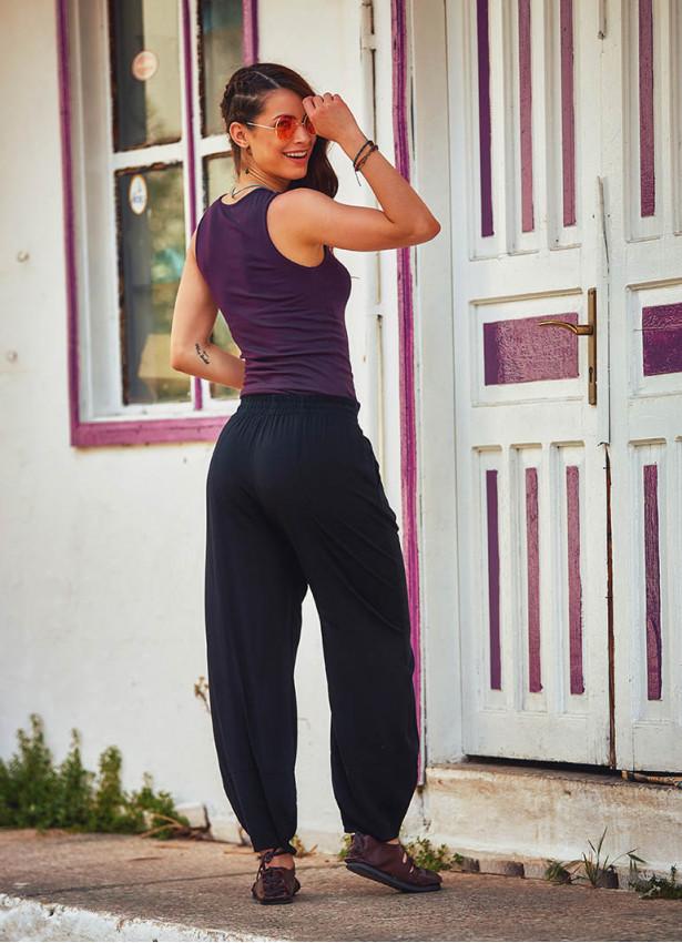 Bohem Otantik Beli Lastikli Siyah Şalvar Pantolon