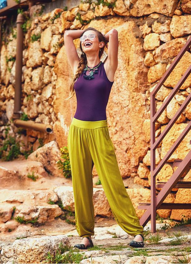Bohem Beli Lastikli Salaş Yeşil Şalvar Pantolon