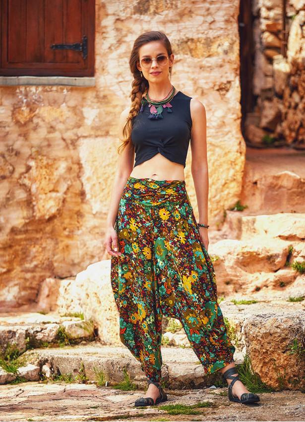 Çiçek Desenli Drape Bel Detaylı Şalvar Pantolon