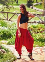 Drape Bel Dökümlü Kadın Kırmızı Şalvar Pantolon