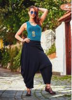 Drape Bel Dökümlü Kadın Siyah Şalvar Pantolon