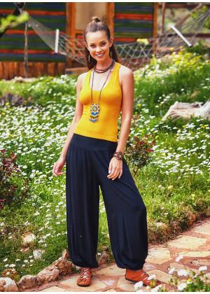 Dökümlü Beli Lastikli Siyah Kadın Şalvar Pantolon