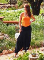 Gipe Bel Lastikli Siyah Kadın Şalvar Pantolon