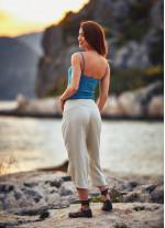 Bohem Tarz Beli Lastikli Kadın Krem Kapri Pantolon