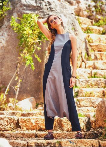 Halter Yaka Sırt Dekolteli Kadın Gri Tulum Elbise