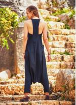Halter Yaka Sırt Dekolteli Siyah-Gri Tulum Elbise