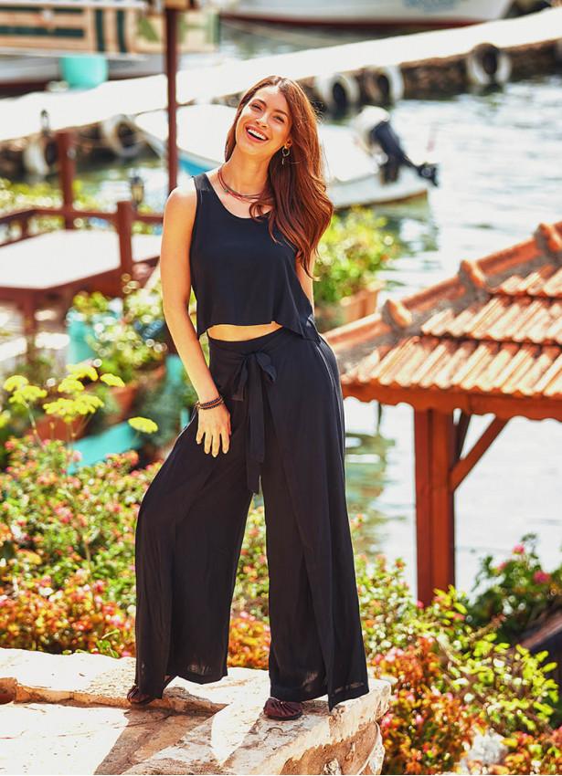 Bohem Beli Lastikli Düğmeli Siyah Tulum Elbise