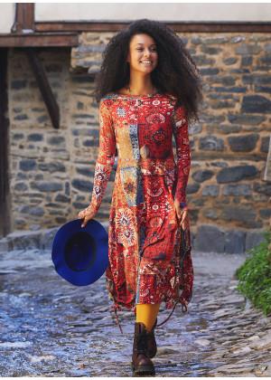Kayık Yaka Parmak Geçmeli Kışlık Kırmızı Anatolia Elbise