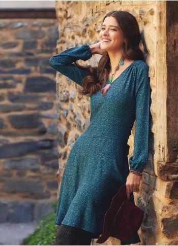 Kuşak Detaylı V Yaka Uzun Kollu Kloş Turkuaz Elbise