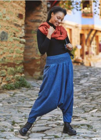 Gipe Bel Detaylı Kışlık Kadın İndigo Şalvar Pantolon