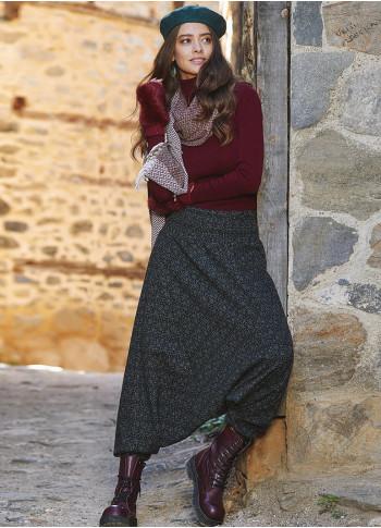 Gipe Bel Detaylı Kışlık Kadın Yeşil Şalvar Pantolon