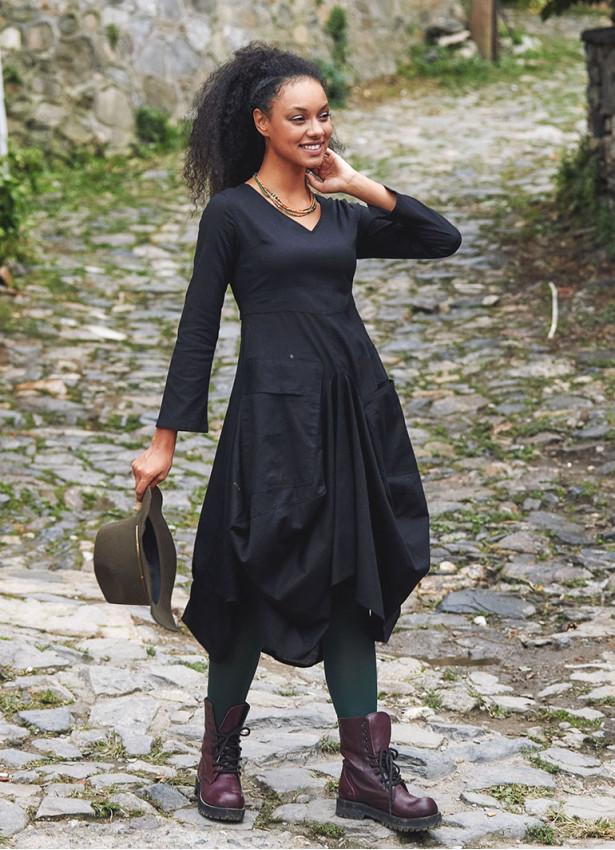 Bohem Tarz Asimetrik Kesim V Yaka Balon Elbise