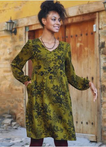 Haki Gül Desenli Kısa Uzun Kollu Robadan Elbise
