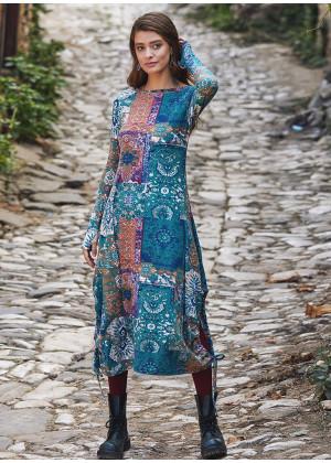 Kayık Yaka Parmak Geçmeli Kışlık Yeşil Anatolia Elbise
