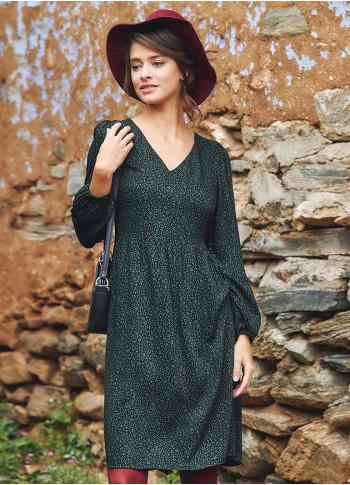 Yeşil Desenli Kısa Uzun Kollu Robadan Elbise