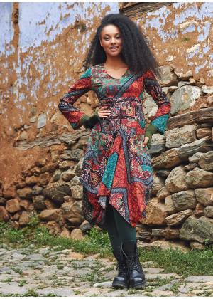 Siyah Babil V Yaka Balon Etek Uzun Kollu Elbise