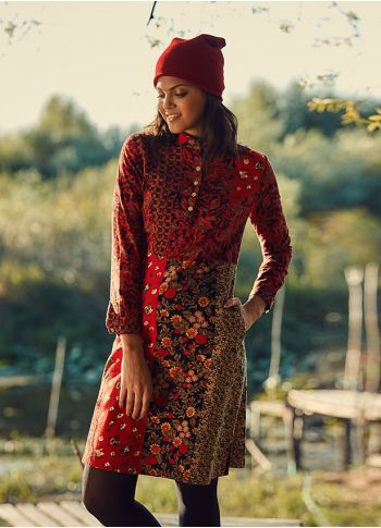 Kırmızı Desenli Elbise - Ke02kirmizipatch